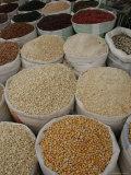 Bags of Mexican Beans and Corn at an Outdoor Market  San Cristobal de Las Casas  Mexico