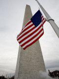American Flag against the Washington Monument  Washington  DC