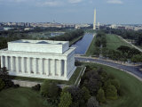 Aerial View of Lincoln Memorial  Reflecting Pool  Washington Monument  Washington  DC