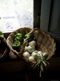 Basket of Vegetables on a Kitchen Shelf by a Window  Tuscany  Italy