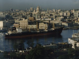 City and a Massive Freighter as It Cruises the Canal  Havana  Cuba