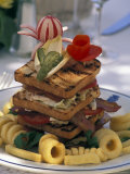 Gourmet Sandwich Served on a Balcony of a Restaurant in Amalfi  Italy