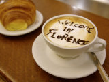 Florence  Italy  Cappuccino with Text in Chocolate