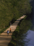 Bikers on the C and O Canal Path in Washington  DC