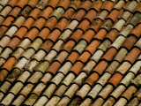 Close-Up of Terra Cotta Roof Tiles  Asolo  Italy