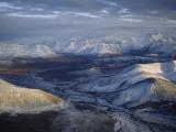 Aerial View of the Brooks Range at Twilight  Alaska