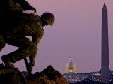 Iwo Jima Memorial with Capitol Building and Washington Monument  Washington  DC