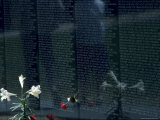 Flowers and Two People Reflected in the Vietnam Memorial  Washington  DC