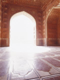 Intricate Carved Floor and Ceiling of the Sandstone Taj Mahal Mosque  Agra  India