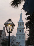 Saint John's Luthern Church at Night with a Lamppost in Charleston  South Carolina