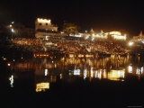 Hindus Line the Ghat at Night to Float Candles Down the River