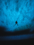 Diver is Silhouetted against the Pack Ice of Mcmurdo Sound