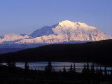 Midnight Alpenglow on Mount Mckinley Reflecting in Wonder Lake  Alaska
