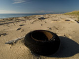 Old Discarded Tire on a Beach  Block Island  Rhode Island