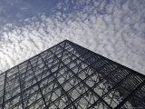 the Louvre Museum and the Im Pei Pyramid  Paris  France