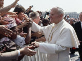 Pope John Paul II Greets a Crowd of People in St Peter's Square