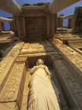 Statue in the Library of Celsus in Ephesus  Turkey