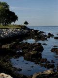 Tranquil Shoreline of Long Island Sound  Groton  Connecticut