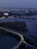 Scenic Aerial View of Washington  DC  Seen from Virginia