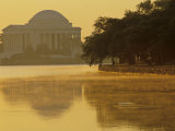 Scenic View of the Jefferson Memorial and Tidal Basin with Fog  Washington  DC