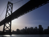 Silhouette of the Skyline and Oakland Bay Bridge  California