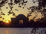 Sun Setting over the Jefferson Memorial  Washington  DC