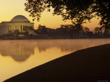 The Jefferson Memorial Reflected in the Tidal Basin at Dusk  Washington  DC