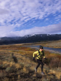 Women Trail Running in Yellowstone National Park  Wyoming