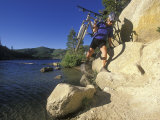 Woman Carries Her Bike to the Flume Trail at Marlette Lake