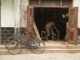 Two Bicycles Parked in Front of Woodworker's Shop  Jingzhou  China