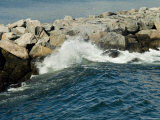 Wave Rolling against Rock Jetty at Old Harbor on Block Island  Rhode Island