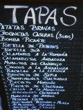 Tapas Menu on Blackboard in a Bar