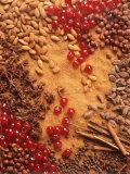 Spices, Nuts, Almonds and Cherries Forming a Surface Papier Photo par Luzia Ellert