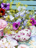 Anemones and Delphiniums in a Teapot