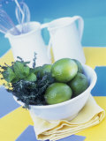 Limes  Mint and Thyme in a Bowl