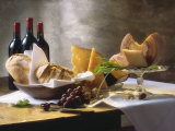 Assorted Types of Cheese with Bread, Red Wine Papier Photo