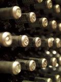 White Wine Bottles Maturing in a Cellar