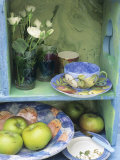 Coffee Cup  Flowers and Bowl of Apples on Shelves
