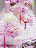 Laid Table with Pink Accessories and Peonies