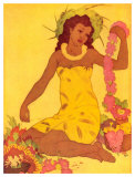 Lei Maker, Hawaii Giclée par John Kelly