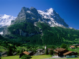 Town and Mountains  Grindelwald  Alps  Switzerland