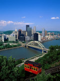 Duquesne Incline Cable Car and Ohio River  Pittsburgh  Pennsylvania  USA