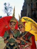 Girls Dressed in Traditional Dancing Costume  Bangkok  Thailand