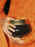 Thailand  Bangkok  Detail of Monk Holding Alms Bowl