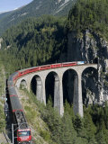 Glacier Express and Landwasser Viaduct  Filisur  Graubunden  Switzerland