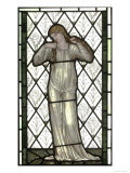 Woman Playing Lute on Stained Glass Window
