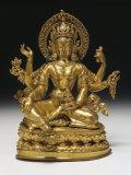 Vasudhara the Goddess of Wealth in Gilt Copper  16th Century