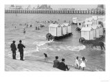 Ostend Seaside  Bathing Huts on Wheels  View from Top of Sea Wall  c1900