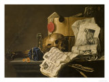 Vanitas Still Life with Skull  Papers  A Wax Seal and a Burning Log