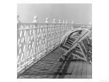 Railing at Brighton Pier with Sun Lounge  East Sussex